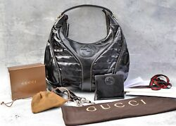 Gucci Snow Glam Leather Patent Hobo Bag  & Wallet boston GG SUPERB PRE-OWNED