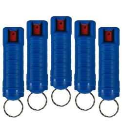 5 Pack Police Magnum Pepper Spray 1/2oz Blue Molded Keychain Defense Security