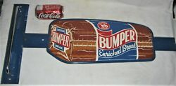 Antique Usa Bumper Bread Country Bakery Kitchen Store Door Push Art Display Sign
