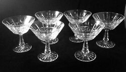 Six 6 Waterford Crystal Kylemore Champagne/tall Sherbet Glasses Ireland Signed
