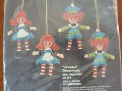 Sultana Christmas Kit Mini Rag Dolls 4 Felt Ornaments Jeweled Embroidery 32003