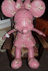 NWT DISNEY X COACH MINNIE MOUSE DOLL F30855 Pink Leather With Flowers XL LIMITED