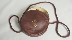 Gold Stamped Cross Leather Rosary or Pyx Case with Strap Brown 3 3 4 Inch $14.99