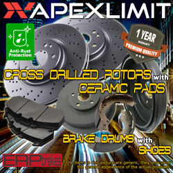 Front Rotors And Pads And Rear Drums And Shoes For 1995-2000 Chevy C2500 9.5 In Drum