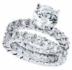 Bridal Ring Set 9.00 Carat Diamond 18K WG GIA Certified Round Brilliant Cut
