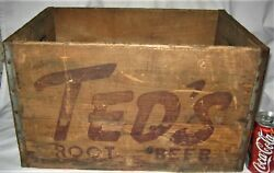 Antique Country Ted's Root Beer Soda Wood Box Crate Sign Moxie Co. Boston Ma Usa
