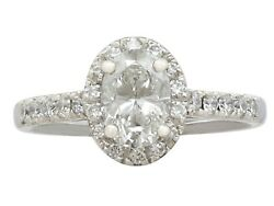 Contemporary 1.42 Ct Diamond and 18k White Gold Dress Ring Size 6 2000s
