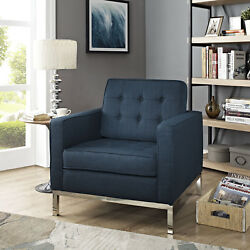 Mid-Century Modern Tufted Fabric Upholstered Accent Lounge Armchair in Azure