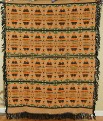 Dazzling Vintage 30's Beacon Camp Blanket Shawl Great Colors And Indian Design