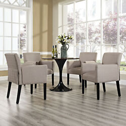 Modern Farmhouse Fabric Upholstered Dining Room Armchairs in Beige - Set of 4