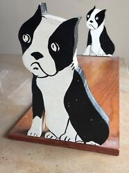 Vintage 40-50's French Bull Terrier BOOKENDS Handpainted Plywood 22