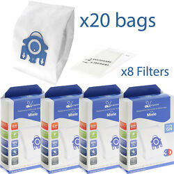 20 X Gn Microfibre Bags And Filters For Miele Complete C2 C3 Powerline Ecoline