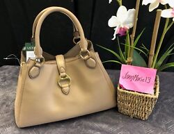 New Allenville City Taupe Satchel Purse Leather Gold Tote Bag 328