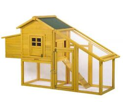 Wooden Chicken Coop House Poultry Pet Cage Backyard Nest Box wRun Yard 75