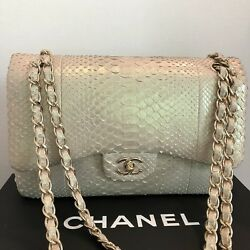 AUTHENTIC CLASSIC CHANEL Beige Exotic Python Jumbo Double Flap Bag Used Once
