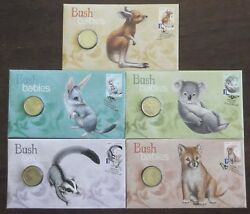 2011 Bush Babies Full Set 5 Stamp First Day Cover Perth Mint 1 Coin Pncand039s