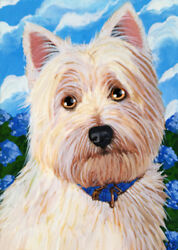 ACEO Original Westie West Highland Terrier Puppy Dog Art Painting A. Berbling