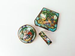 Antique Vintage Enamel 800 Silver Colonial Scene Compacts And Lipstick Holder