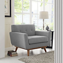 Mid-Century Modern Upholstered Fabric Accent Armchair in Expectation Gray