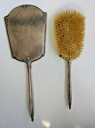 Vintage Webster Company Sterling Silver Hand Hammered Brush And Mirror Set