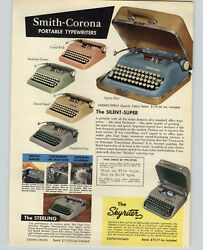 1957 Paper Ad Smith Corona Portable Typewriter Silent Super Color Skyriter