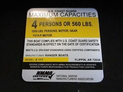 Ranger Z 117 Maximum Capacities 4 Persons Decal Silver/yellow/black 4 X 4 Boat