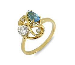 Womenand039s Unique High Grade Natural Mined Diamond And Topaz Ring 14k Solid Gold