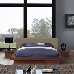 3pc Upholstered Queen Wood Platform Bed And Two Side Table Set In Walnut Latte