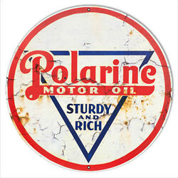 Polarine Motor Oil Reproduction Vintage Looking Metal Sign 24x24 Round