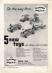 1959 Paper Ad Gong Bell Toys Nevy Jeep Tow Truck Sports Car Proll-o-tone Oragn