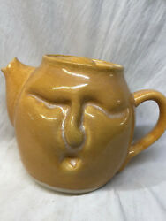Earth Creatures Pottery Yellow Face Teapot With Lid 62 Oz