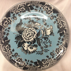 Spode Blue Room Garden Collection Pizza Chop Plate 12 3/4 Black Poppy On Blue