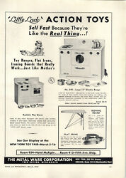 1951 Paper Ad Metal Ware Toy Co Little Lady Electric Range Stove Oven Sad Iron