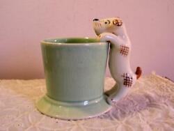 Antique 1940's Made In Japan Porcelain Dog Cup Mug Figural Handle Terrier