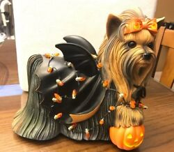YORKIE COLLECTION DELIGHTFUL HOLIDAY  LIGHT UP & CERTIFICATE  Statue figurine