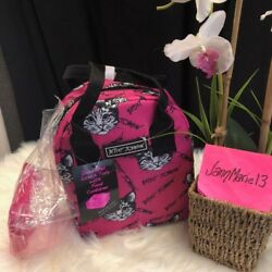 Betsey Johnson Pink Tabby Kitty Cat Lunch Box Bag Cooler Tote Insulated 2 pc SET