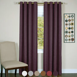 Solid Textured Window Blackout Curtains Lined 8 Grommets Panel Energy Efficient