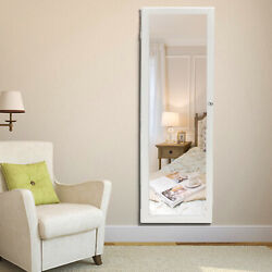 47quot; Lockable Wall Mount Mirrored Jewelry Cabinet Organizer Armoire w LED Light