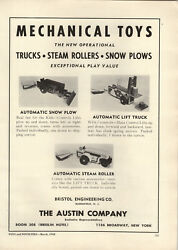 1948 Paper Ad The Austin Toy Meachanical Toys Automatic Steam Roller Snow Plow