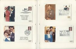 British Royalty Stamp Collection, 14 Pages Covers, Charles And Princess Diana T