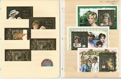 British Royalty Stamp Collection, 7 Pages Gold Foil Princess Diana Mint Nh W