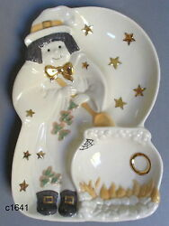 Lenox Halloween Autumn Witch Divided Candy Server Porcelain - New In Box