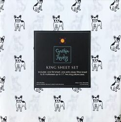 NEW! Cynthia Rowley Boston Terrier French Bull  Puppy Dog KING SIZE Sheet SET