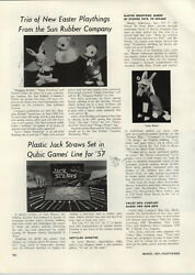 1957 Paper Ad Article Sun Rubber Toys Donald Duck Duckling Rabbit Dolls