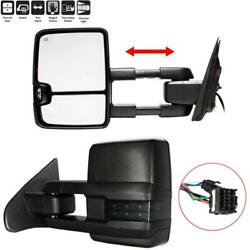 Pair Smoked Led Tow Mirrors For 15-17 Silverado Sierra 1500 2500 Hd Power Heated