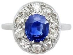 Vintage 2.25 Ct Sapphire and 0.78 Ct Diamond Platinum Dress Ring French 1940s