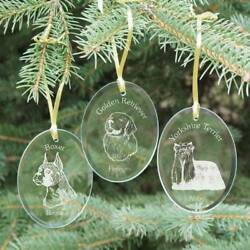 Personalized Engraved Dog Breed Ornament Glass Dog Breed Christmas Ornament