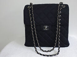CHANEL RARE! AUTH TALL NAVY VTG QUILTED TWO SIDE FLAP CHAIN FABRIC SHOULDER BAG