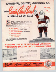 1948 Paper Ad Santa Claus Land Indiana Toy Store Open Year Round Toy Capitol