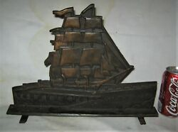 Antique 1932 Charles W. Morgan Sea Ghost Whaling Ship Cast Iron Statue Doorstop